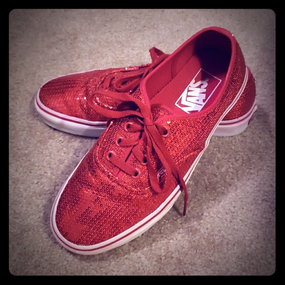 Vans Shoes | Ruby Red Sequin | Poshmark